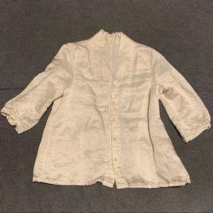Lucious cream hemp/silk blend CP Shades blouse